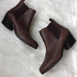 Forever 21 Faux Leather Slip On Booties